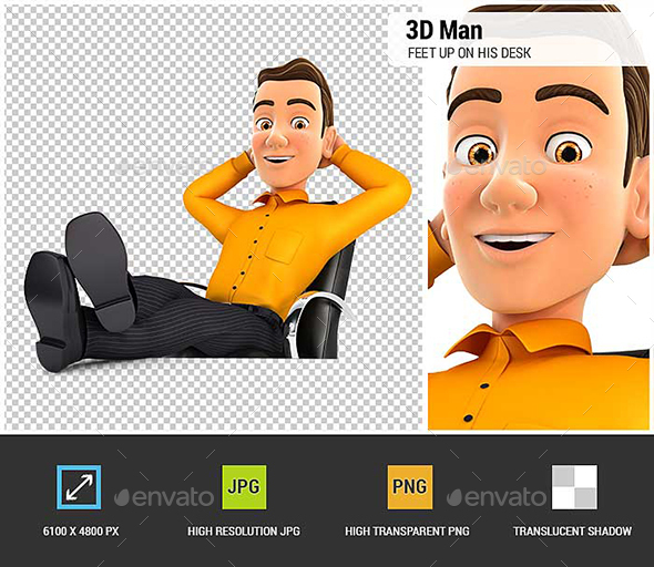 3D Man Relaxing with Feet Up on his Desk - Characters 3D Renders