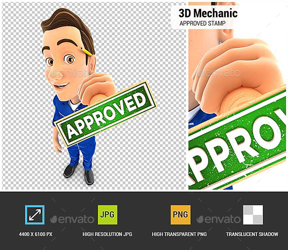 GraphicRiver 3D Mechanic Approved Stamp 21030778
