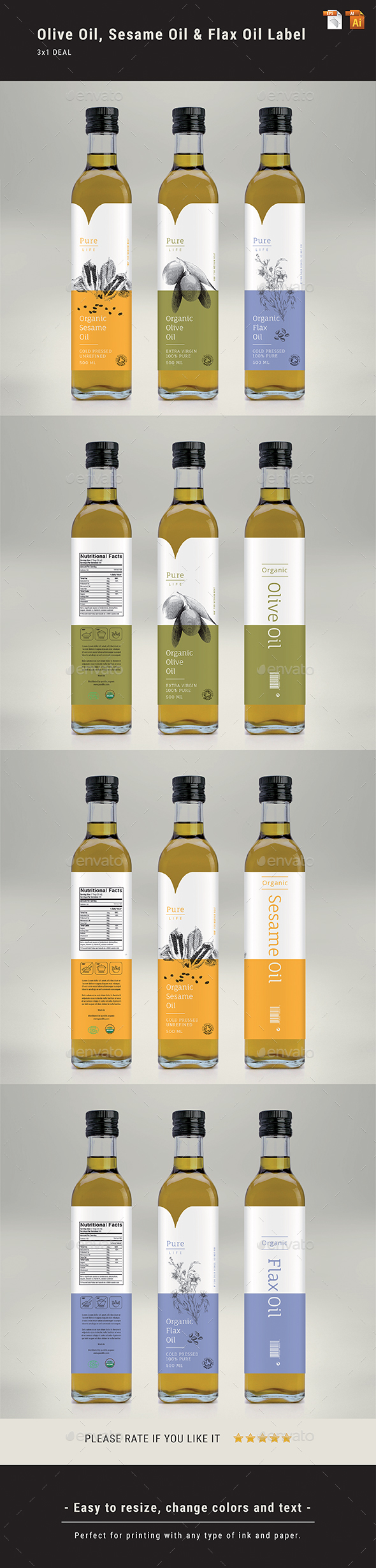 GraphicRiver Olive Oil Sesame Oil & Flax Oil Label 21030946
