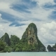 White Clouds Moving Above of the Limestone Cliff Rocks at Railay Beach Krabi Thailand - VideoHive Item for Sale