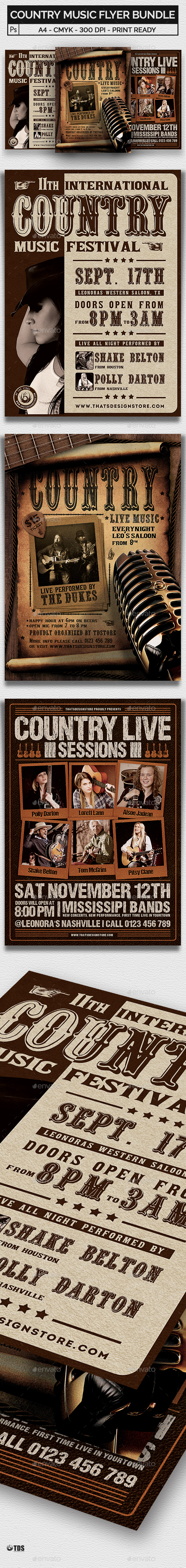 GraphicRiver Country Music Flyer Bundle 21031278