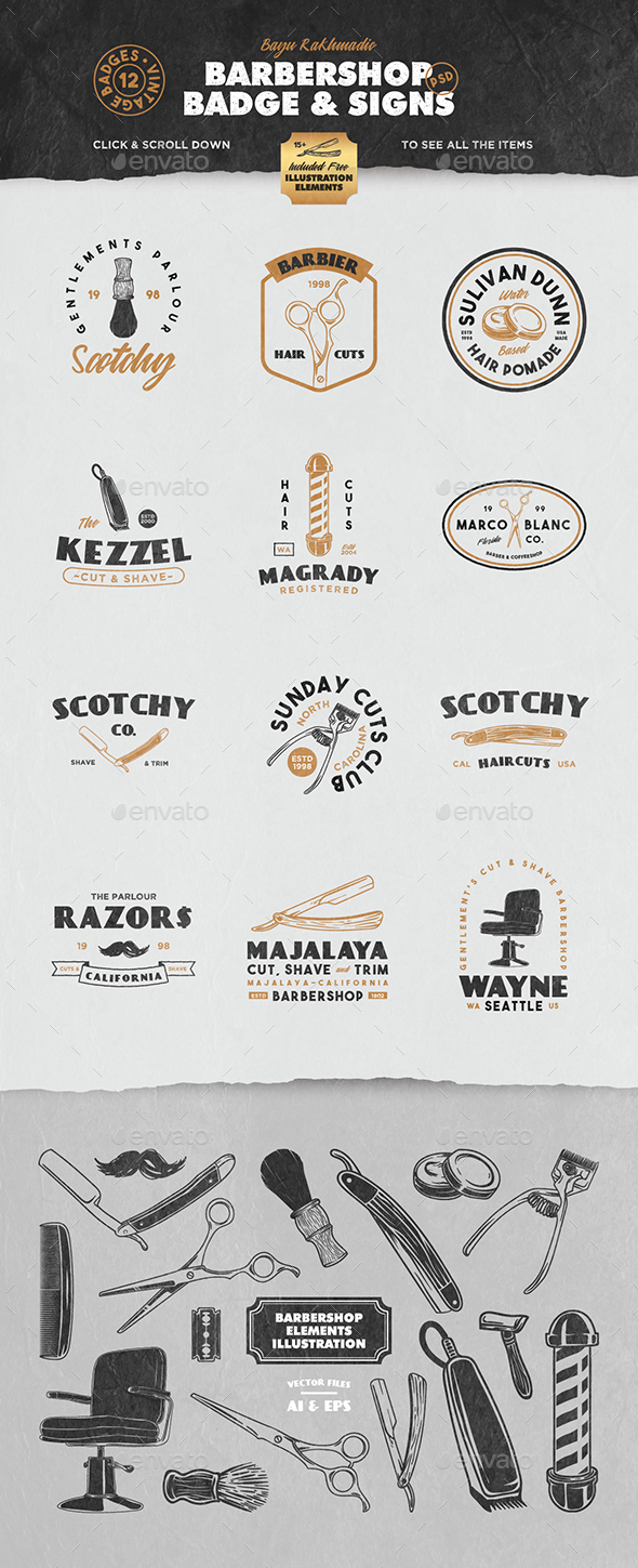 GraphicRiver 12 Vintage Barber Shop Badge 21031453