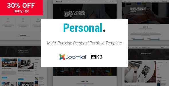Download Free Personal - Responsive Multi-Purpose Personal Portfolio Joomla Template With Page Builder