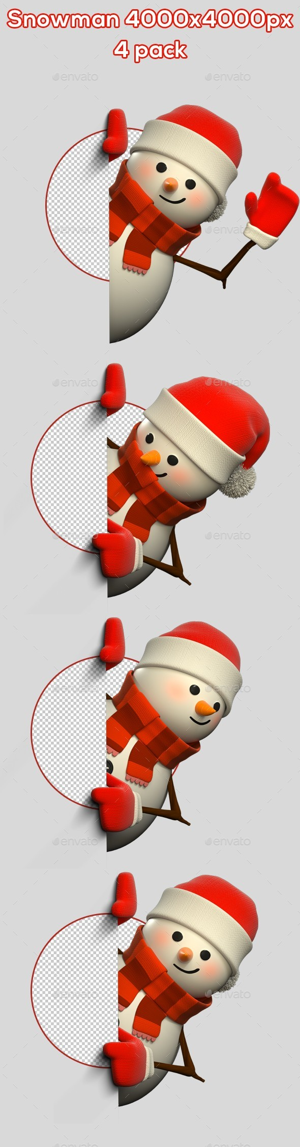 GraphicRiver 3D Snowman From Side 4 Pack 21031551