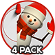 3D Snowman From Side - 4 Pack - GraphicRiver Item for Sale