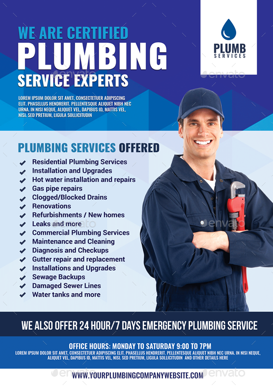 plumbing services promotional flyer by artchery