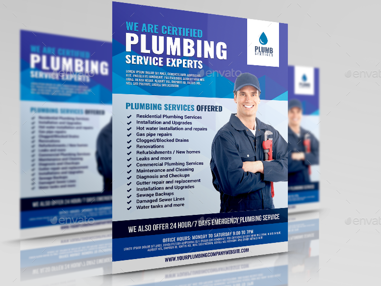 Preview Plumbing Services Promotional Flyer Design Template 1