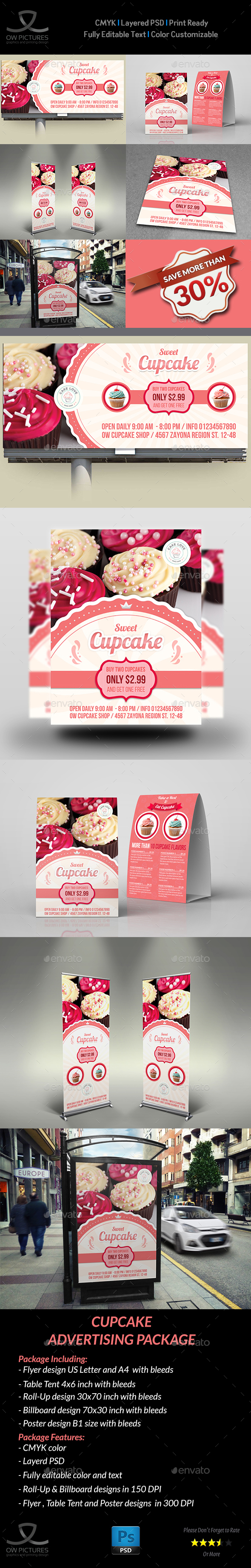 Cupcake Advertising Bundle - Signage Print Templates