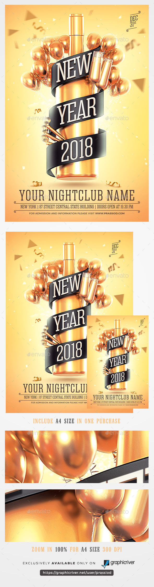 GraphicRiver New Year 2018 Flyer Template 21031947