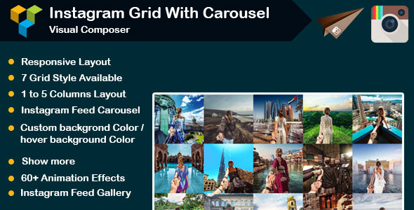 CodeCanyon Visual Composer Instagram Social Stream Grid With Carousel 21031950