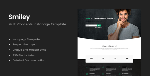 Smiley - Multi Concepts Instapage Template - Instapage Marketing