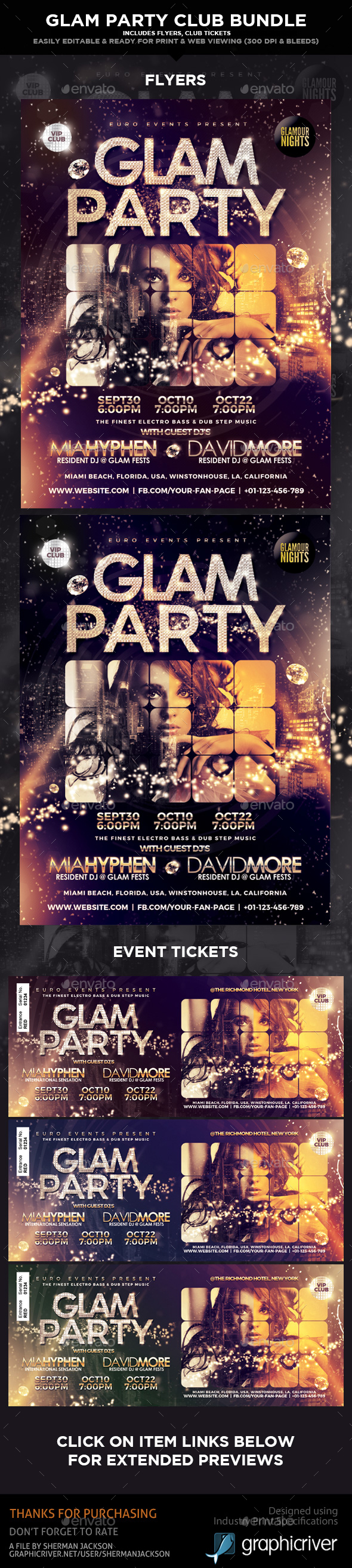 GraphicRiver Glam Party & Club Event Bundle Set 21020554