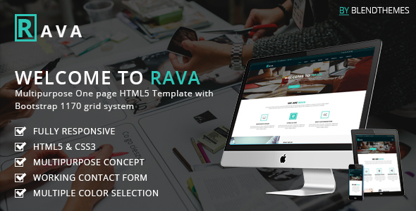 Rava - Creative One Page Multipurpose HTML Template - Corporate Site Templates