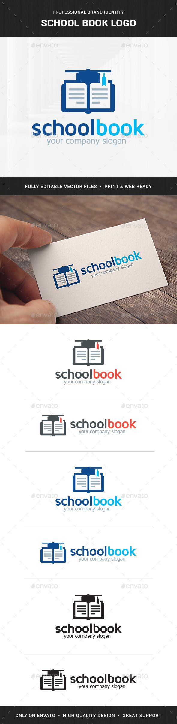 School Book Logo Template - Objects Logo Templates