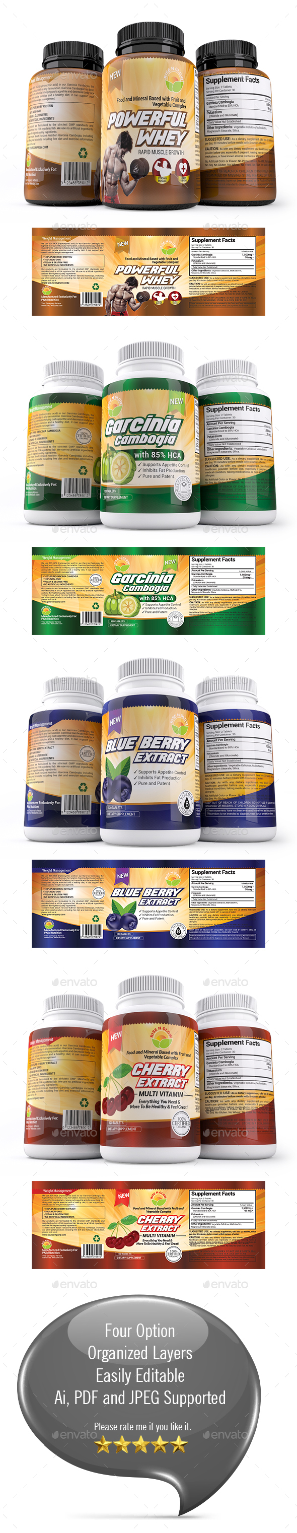 Supplement Label Template Vol-30 - Packaging Print Templates
