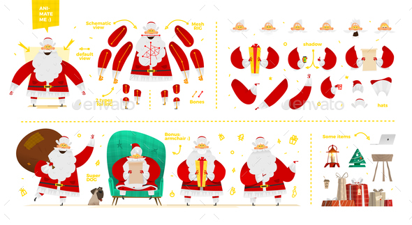 Santa Claus Character  Set for Animation and Motion Design - People Characters