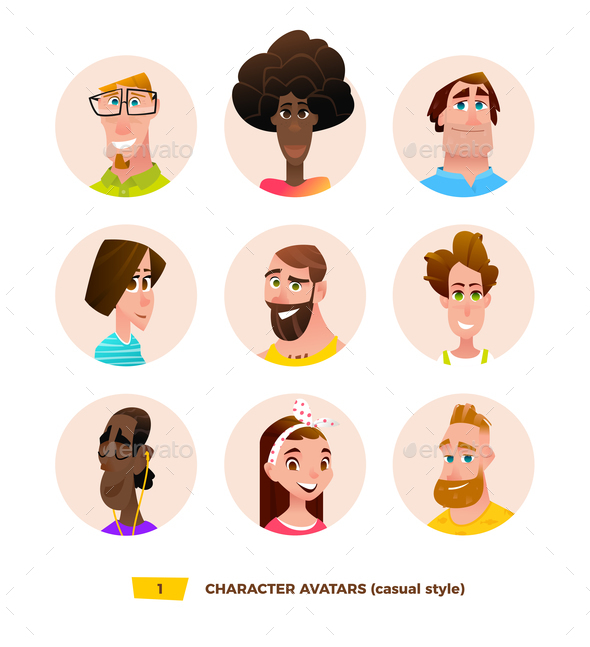 GraphicRiver Characters Avatars in Cartoon Flat Style 21032343