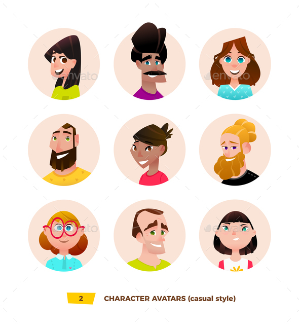 GraphicRiver Characters Avatars in Cartoon Flat Style 21032344