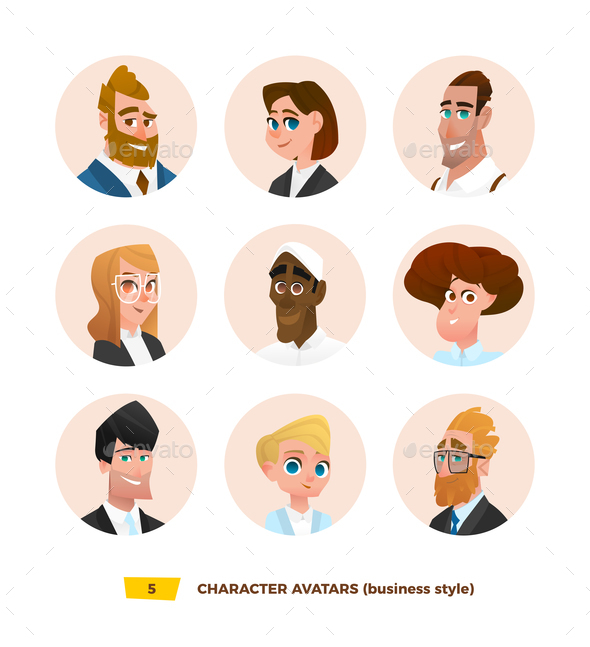 GraphicRiver Characters Avatars in Cartoon Flat Style 21032348