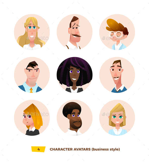 GraphicRiver Characters Avatars in Cartoon Flat Style 21032361