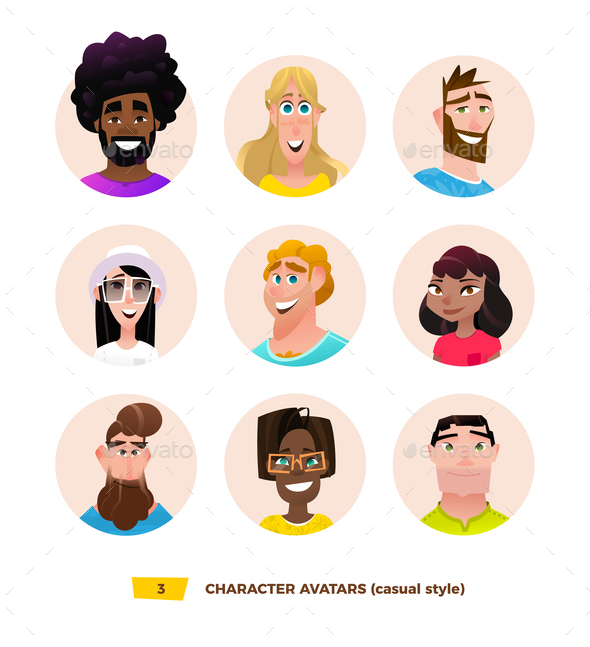 GraphicRiver Characters Avatars in Cartoon Flat Style 21032387