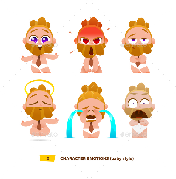 Baby Characters Emotions Set. - People Characters