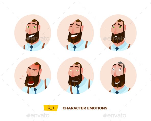GraphicRiver Characters Avatars Emotion in the Circle 21032394