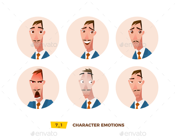GraphicRiver Characters Avatars Emotion in the Circle 21032398