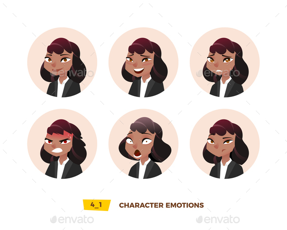 GraphicRiver Characters Avatars Emotion in the Circle 21032399