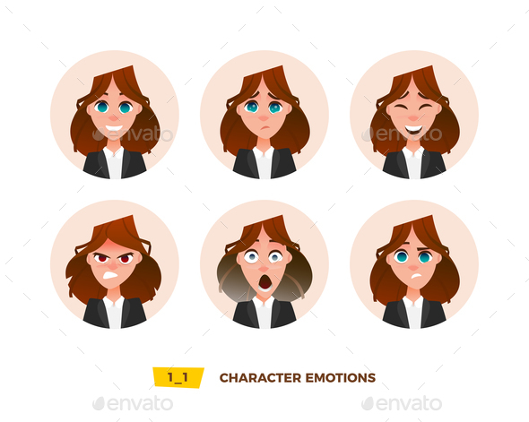 GraphicRiver Characters Avatars Emotion in the Circle 21032400