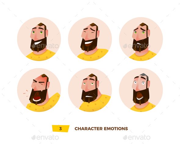 GraphicRiver Characters Avatars Emotion in the Circle 21032401