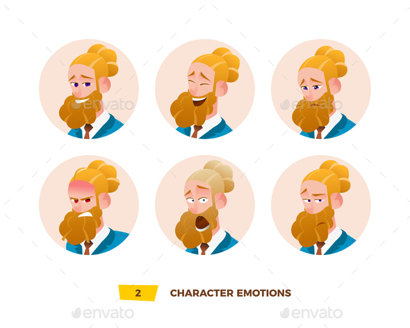 Characters Avatars Emotion in the Circle. - People Characters