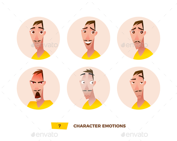 GraphicRiver Characters Avatars Emotion in the Circle 21032405