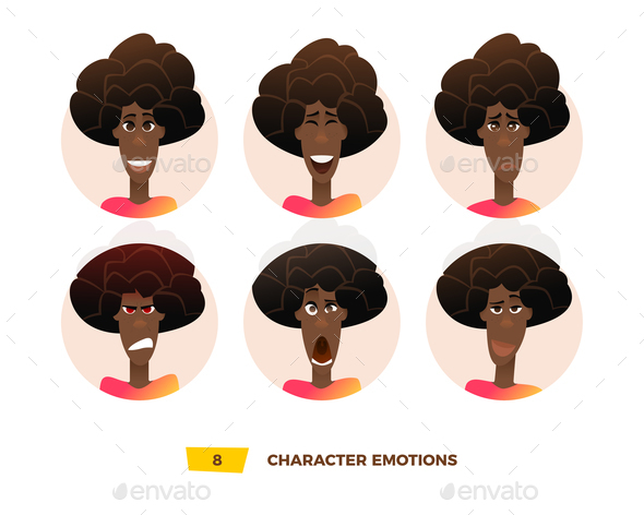 GraphicRiver Characters Avatars Emotion in the Circle 21032409
