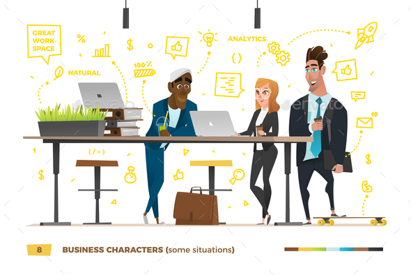 Business Characters in the Working Environment. - People Characters