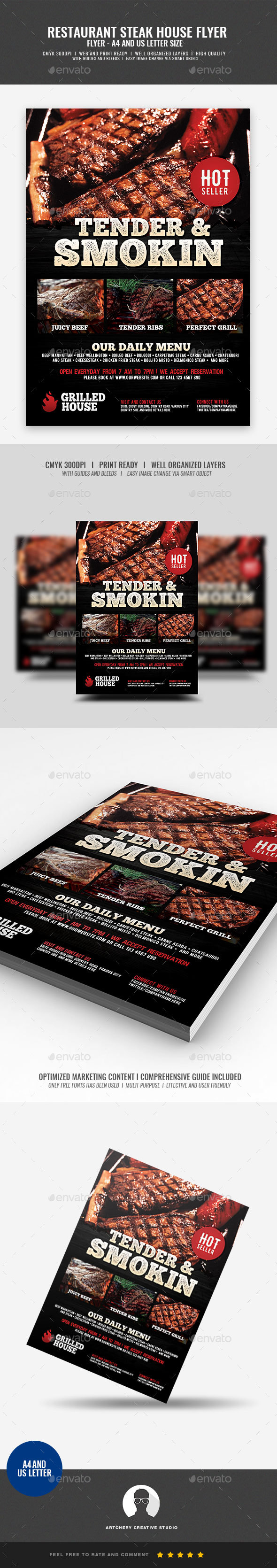 GraphicRiver Grill House Promotional Flyer 21010788