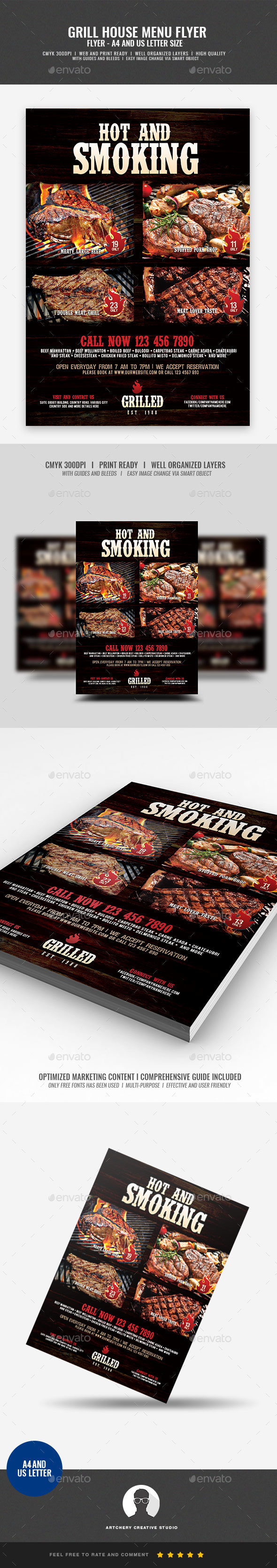 Barbecue and Steak House Flyer - Restaurant Flyers
