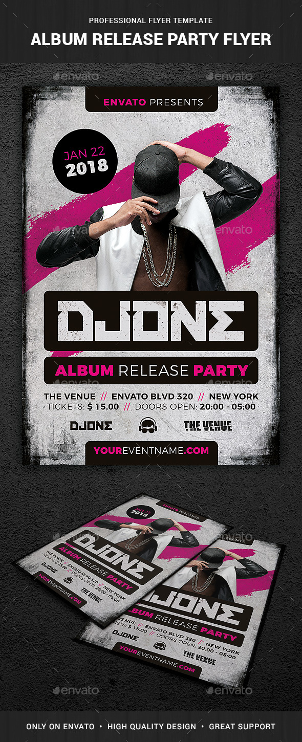 Album Release Party Flyer Template - Clubs & Parties Events