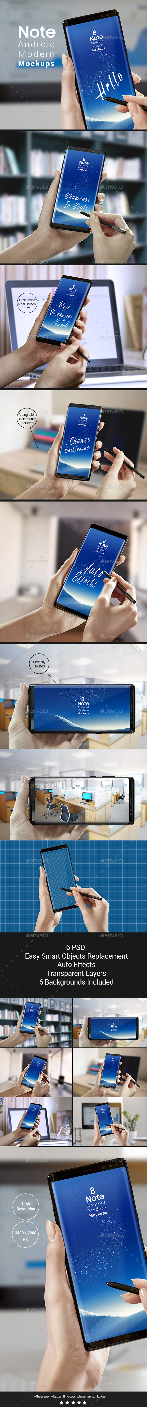 Note 8 Modern Android Mock-ups - Apps Ui Showcase - Mobile Displays