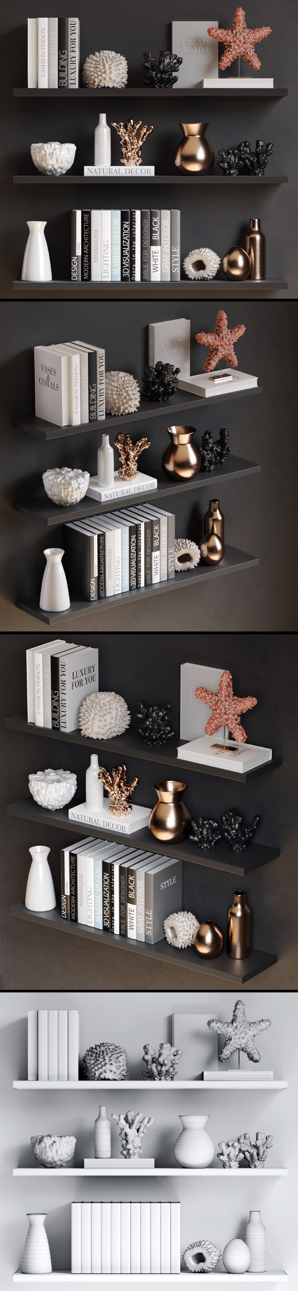 3DOcean Sea decor with corals vases and books 21032943