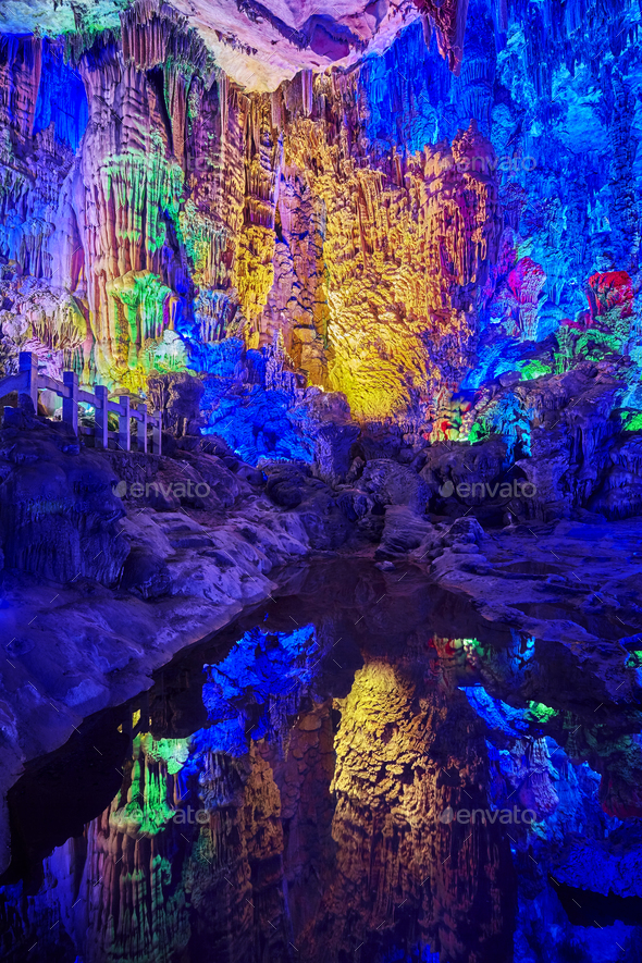The Reed Flute Cave in Guilin, China. - Stock Photo - Images