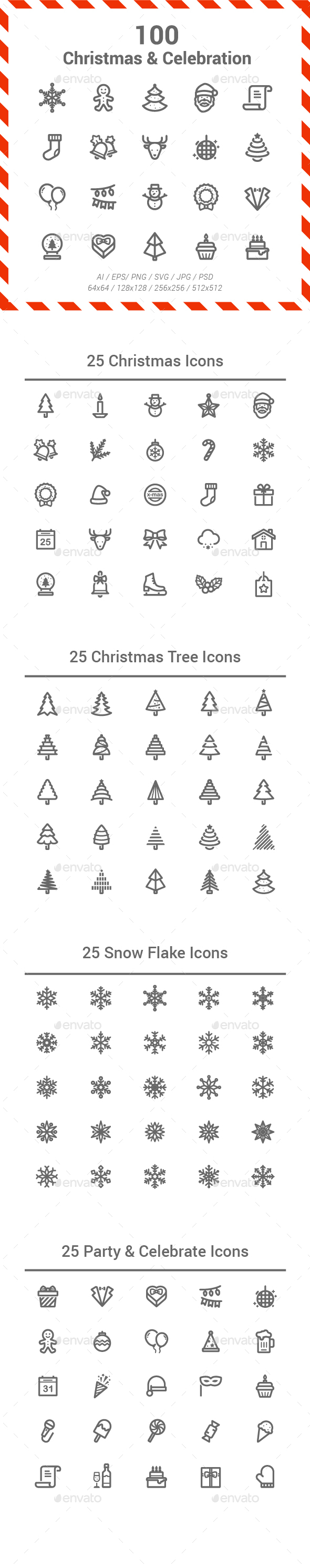 GraphicRiver 100 Christmas & Celebration Line Icons 21033130