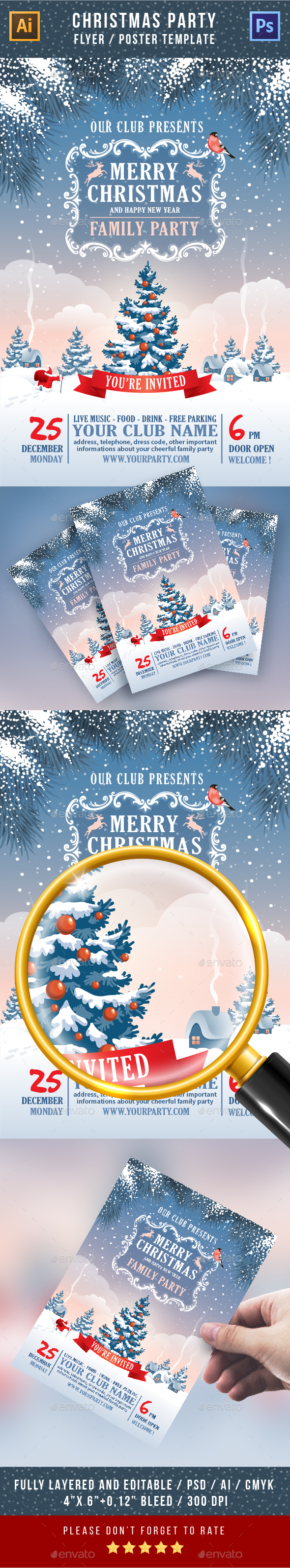 Christmas Party Flyer, Poster Or Invitation - Clubs & Parties Events