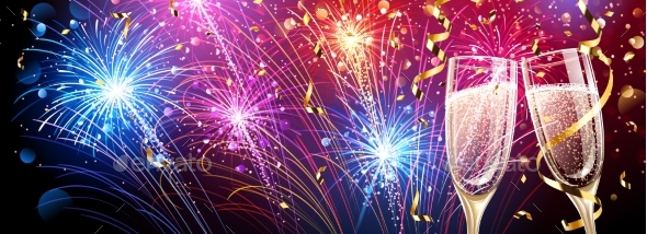 GraphicRiver Colorful Fireworks with Champagne and Confetti 21033328