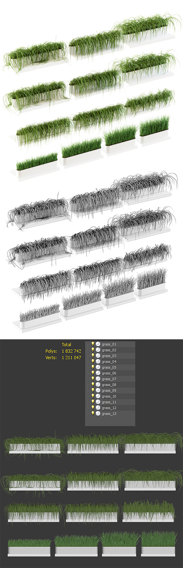 3DOcean Grass on the shelves of 13 models 21033953