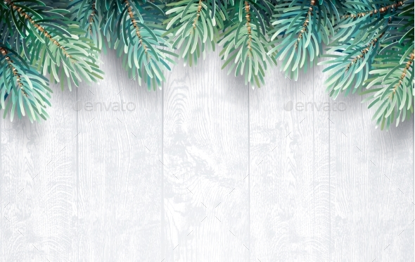 Fir Branches with White Wooden Texture - Christmas Seasons/Holidays