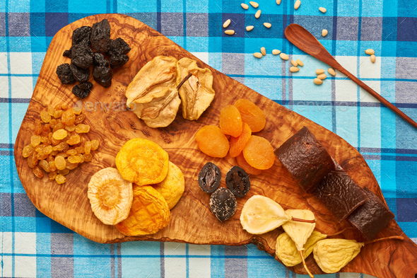 Dried fruits on tablecloth - Stock Photo - Images