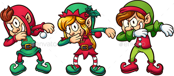 Dabbing Christmas Elves - Christmas Seasons/Holidays