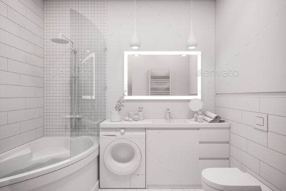 3d Illustration of an Interior Design of a White - 3D Backgrounds