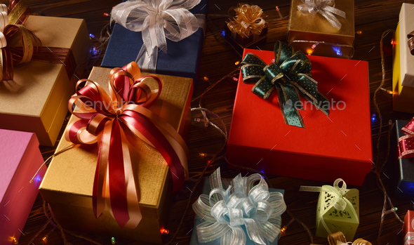 Mixture of gift boxes - Stock Photo - Images